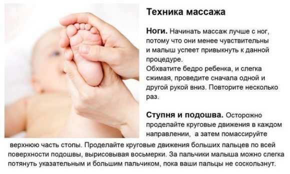 Расслабляющий массаж ног для грудничков